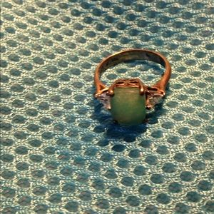 Rare Green Cephalon and diamond ring 7 sterling